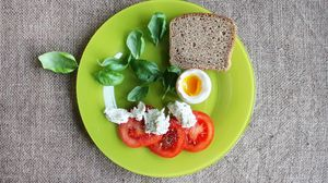 Preview wallpaper bread, egg, tomatoes, basil, cheese