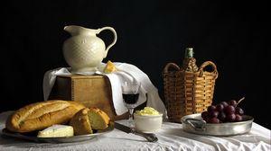 Preview wallpaper bread, grapes, table, still life