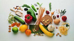 Preview wallpaper bread, vegetables, fruit, nuts, cereals, vitamins