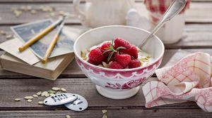 Preview wallpaper breakfast, cheese, bowl, berries, raspberry