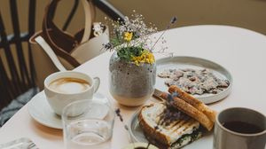 Preview wallpaper breakfast, coffee, toasts, table, dishes
