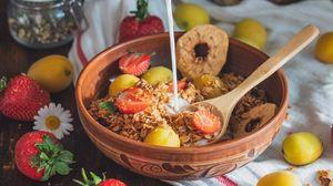 Preview wallpaper breakfast, fruit, strawberries, milk, hand