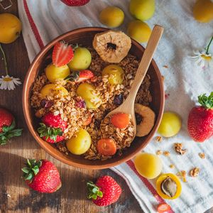 Preview wallpaper breakfast, fruit, strawberries, apricot, dish