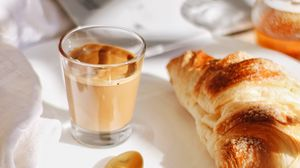 Preview wallpaper breakfast, glass, coffee, croissant