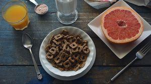 Preview wallpaper breakfast, grapefruit, juice, milk