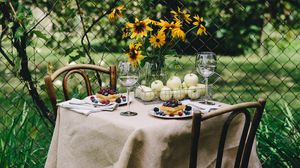 Preview wallpaper breakfast, laying, table, summer, picnic, nature
