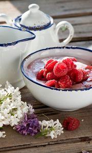 Preview wallpaper breakfast, lilac, yogurt, marshmallow, raspberry