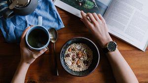 Preview wallpaper breakfast, oats, tea, magazine
