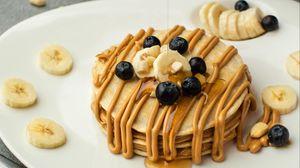 Preview wallpaper breakfast, pancakes, bananas, dessert, dish