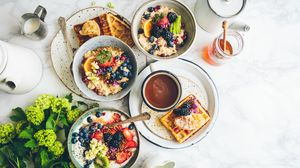 Preview wallpaper breakfast, porridge, waffles, fruit