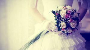 Preview wallpaper bride, bouquet, flowers, gloves, wedding