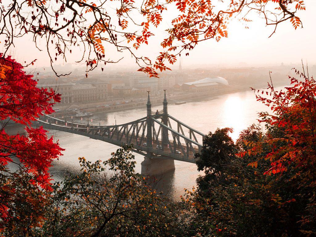 1024x768 Wallpaper bridge, autumn, city, citadella, budapest, hungary
