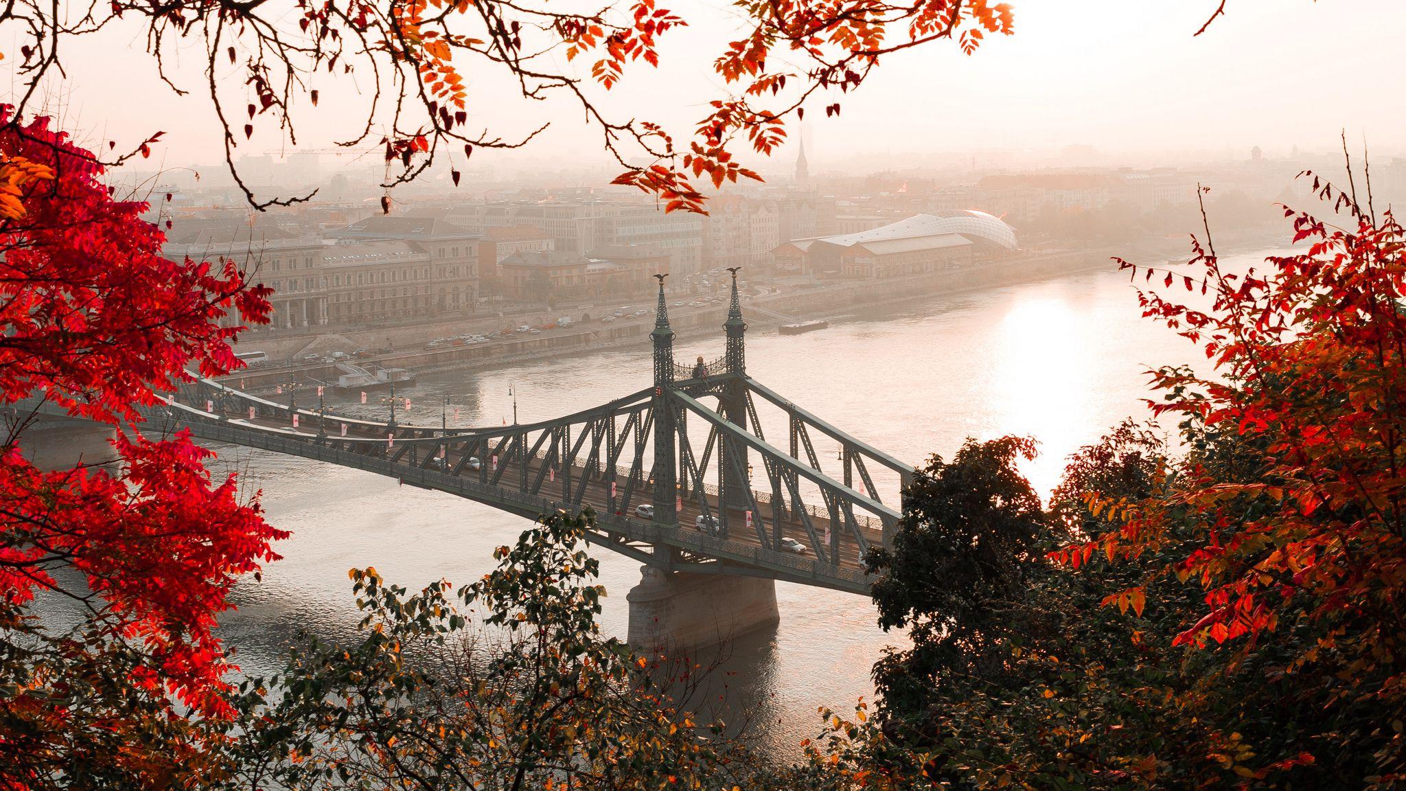 2048x1152 Wallpaper bridge, autumn, city, citadella, budapest, hungary