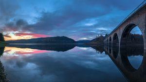 Preview wallpaper bridge, construction, water, reflection, twilight