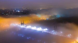 Preview wallpaper bridge, fog, night city, aerial view, budapest, hungary