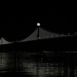 Preview wallpaper bridge, moon, water, night, black