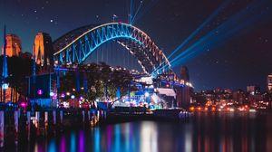 Preview wallpaper bridge, night city, city lights, sydney harbour bridge, sydney, australia
