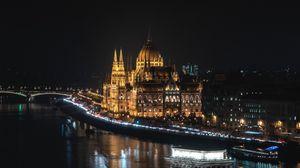 Preview wallpaper bridge, night city, city lights, budapest, hungary
