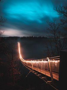 Preview wallpaper bridge, night, fog, trees