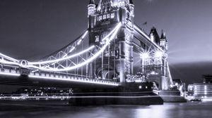 Preview wallpaper bridge, river, bw, thames, tower bridge, london, england