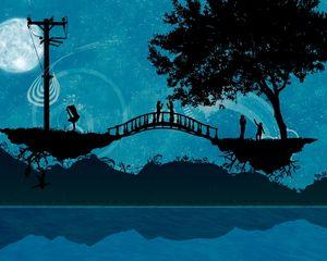 Preview wallpaper bridge, river, trees, people, silhouette