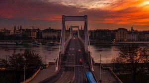 Preview wallpaper bridge, sunset, city, budapest, hungary