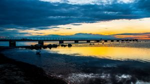 Preview wallpaper bridge, water, clouds, reflection, sunset