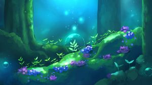 Preview wallpaper bubble, magic, flowers, forest