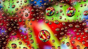 Preview wallpaper bubbles, drops, colorful, liquid, surface