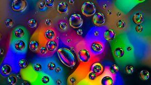 Preview wallpaper bubbles, drops, liquid, macro, colorful