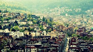Preview wallpaper budapest, buildings, hills, road