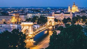 Preview wallpaper budapest, hungary, bridge, night city