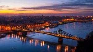 Preview wallpaper budapest, hungary, night city, bridge