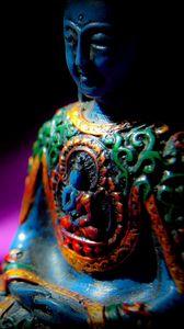 Preview wallpaper buddha, buddhism, meditation, statue, sculpture, shadow, dark