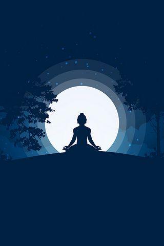 320x480 Wallpaper buddha, buddhism, meditation, harmony, silhouette