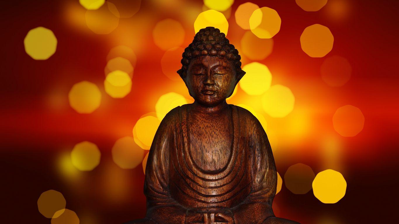 1366x768 Wallpaper buddha, meditation, buddhism, figurine, glare