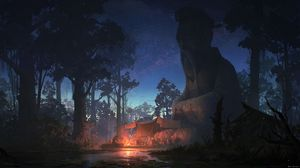 Preview wallpaper statue, sage, night, forest, tent, campfire