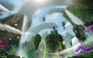 Preview wallpaper buddha, statue, god, rocks, waterfalls