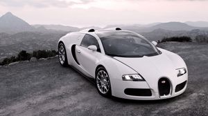 Preview wallpaper bugatti, veyron, cars, sport cars, white, hood, lights, suite