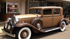 Preview wallpaper buick, 1932, brown, vintage, car, whitewall, street