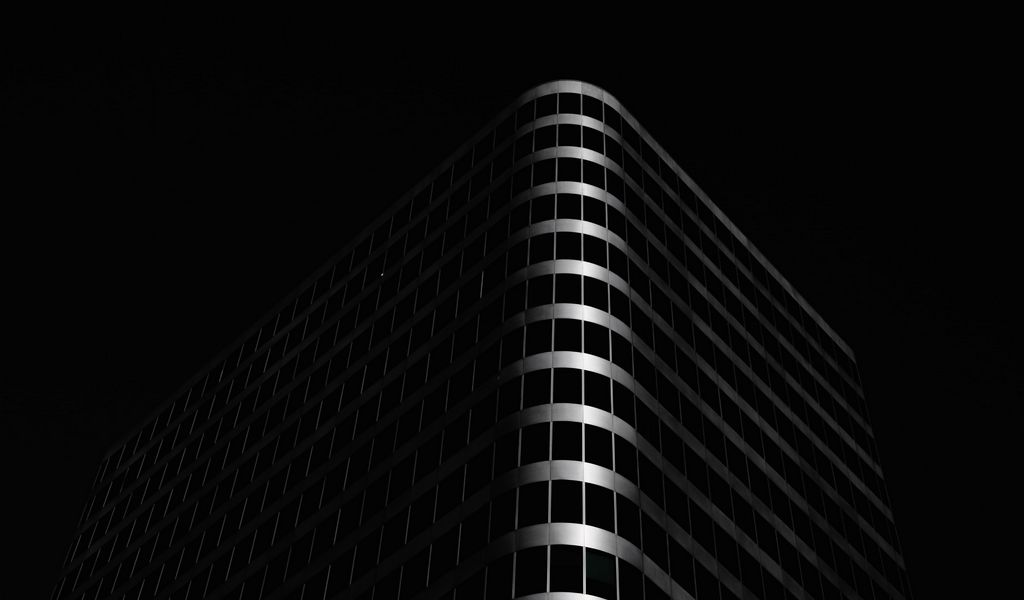 1024x600 Wallpaper building, architecture, black, dark
