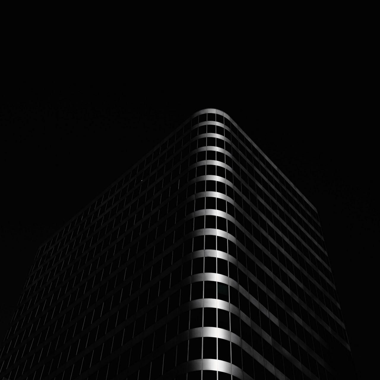 1280x1280 Wallpaper building, architecture, black, dark