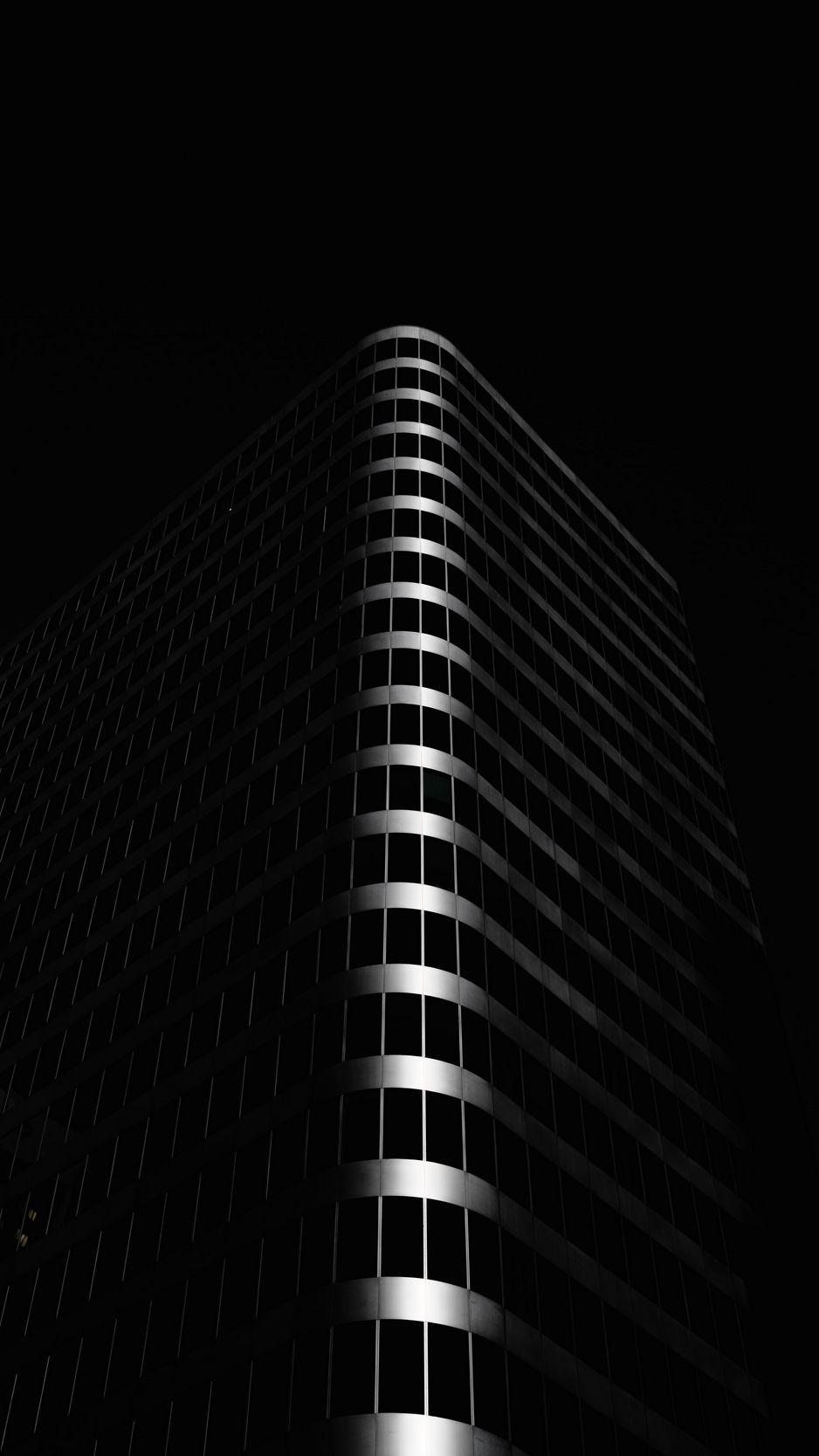 938x1668 Wallpaper building, architecture, black, dark