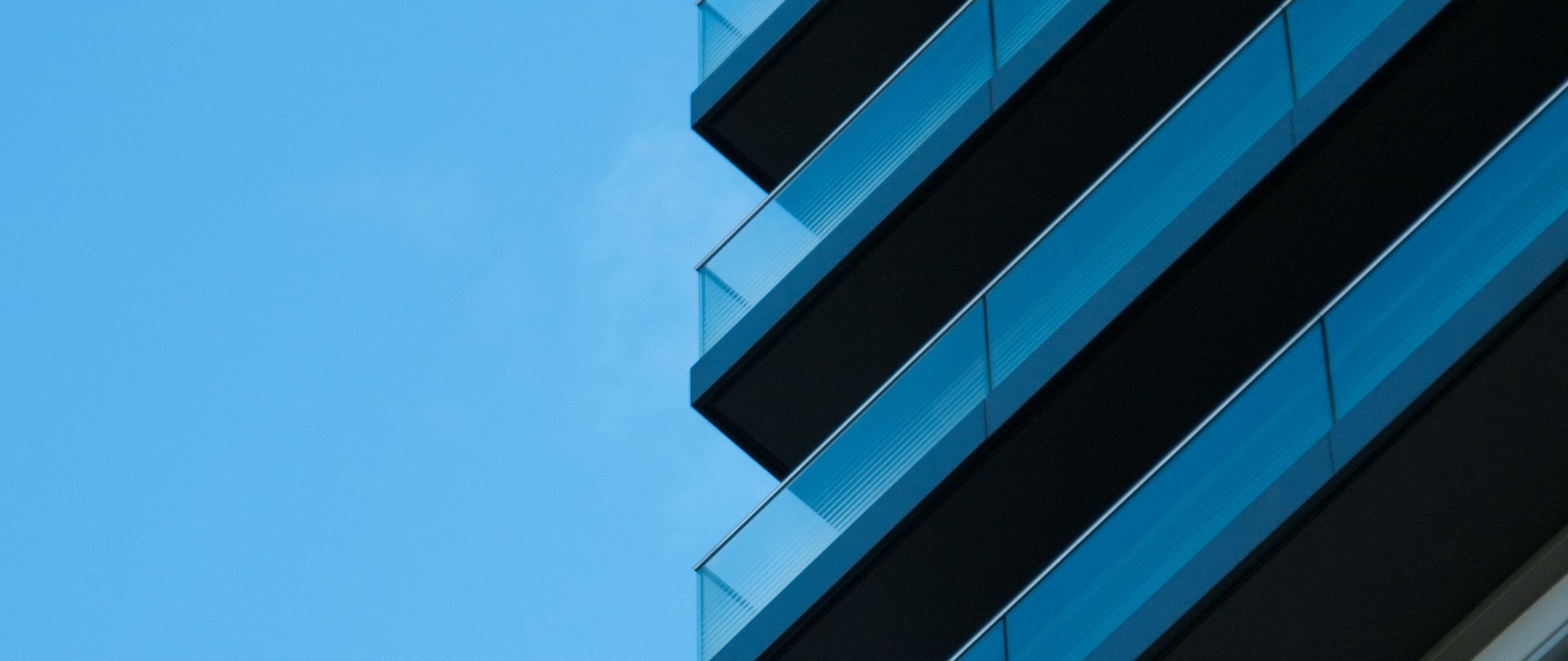 2560x1080 Wallpaper building, architecture, glass, sky, blue, minimalism