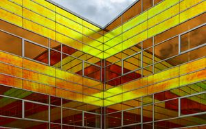 Preview wallpaper building, architecture, glass, reflection, yellow