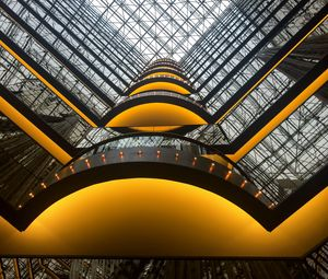 Preview wallpaper building, architecture, glass, reflection, bottom view, yellow