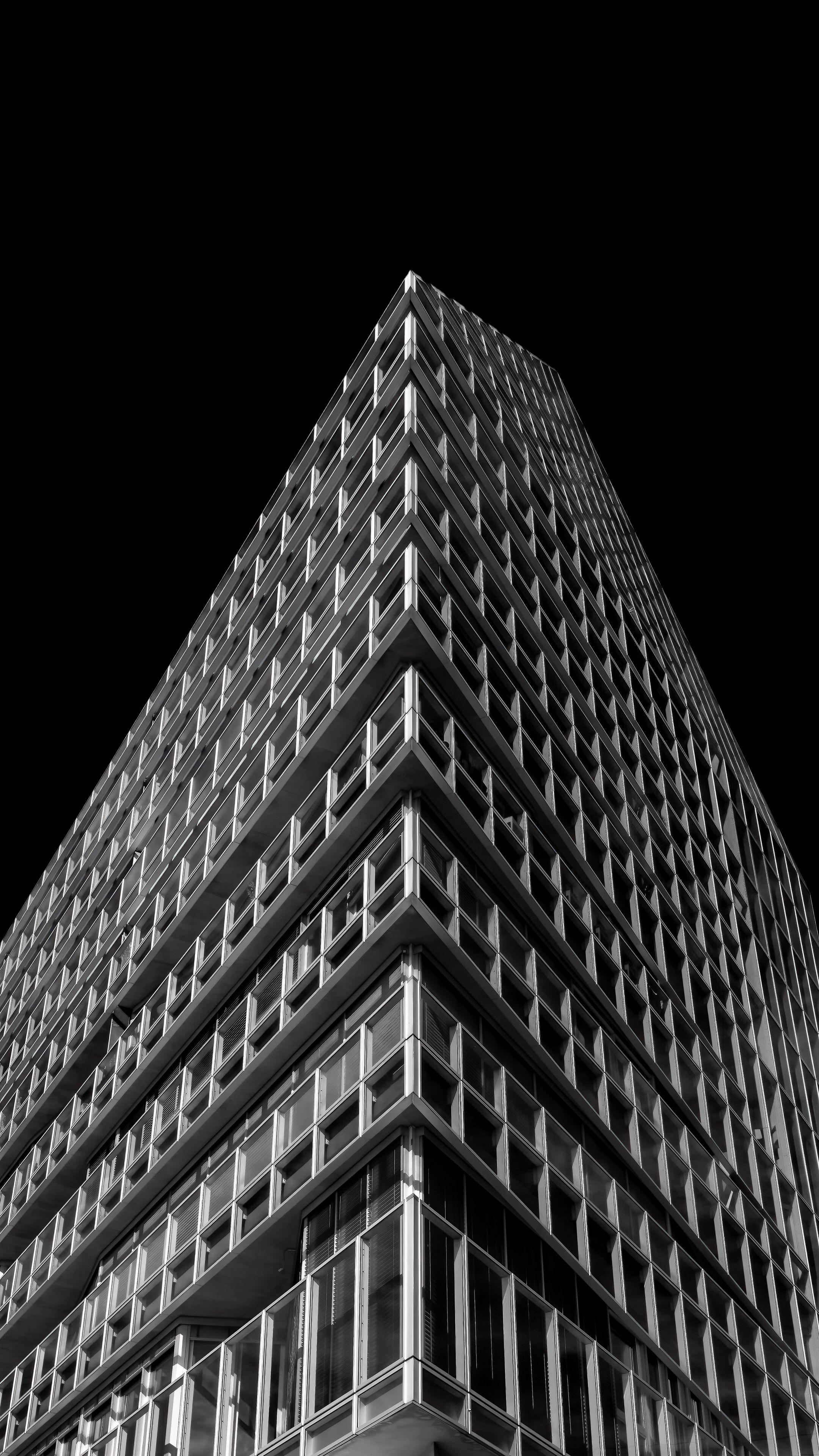 2160x3840 Wallpaper building, architecture, minimalism, black and white, black