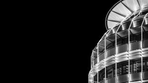Preview wallpaper building, architecture, night, bw, minimalism