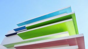 Preview wallpaper building, architecture, stripes, colorful, bottom view