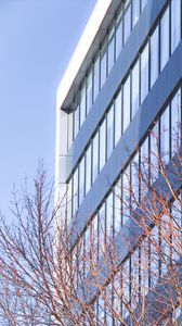 Preview wallpaper building, architecture, windows, trees, branches